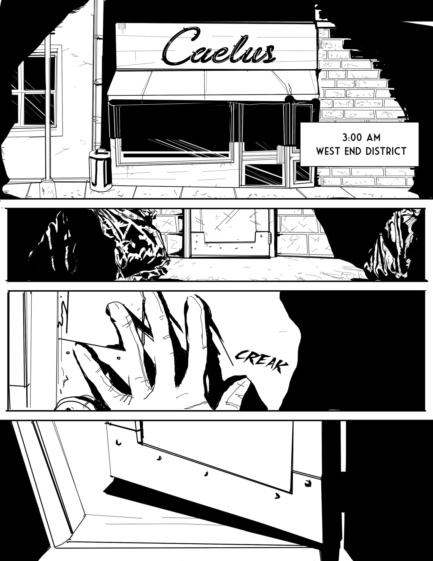 Web comic page of Children of Kronos Page one of Chapter One Demeter, Text: 3:00 am in the morning, Show outside of small butcher shop Caleus. Individual enters through the back door.