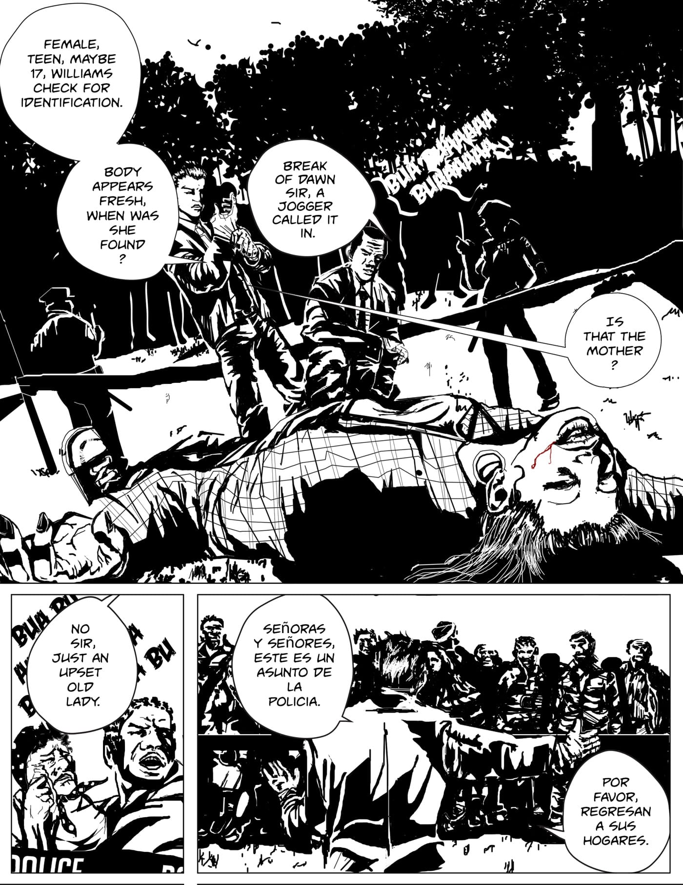Children of Kronos comic page four of chapter one Demeter, Romero walks up on a dead body with fellow detective and asks if the woman crying is the dead girls mother.