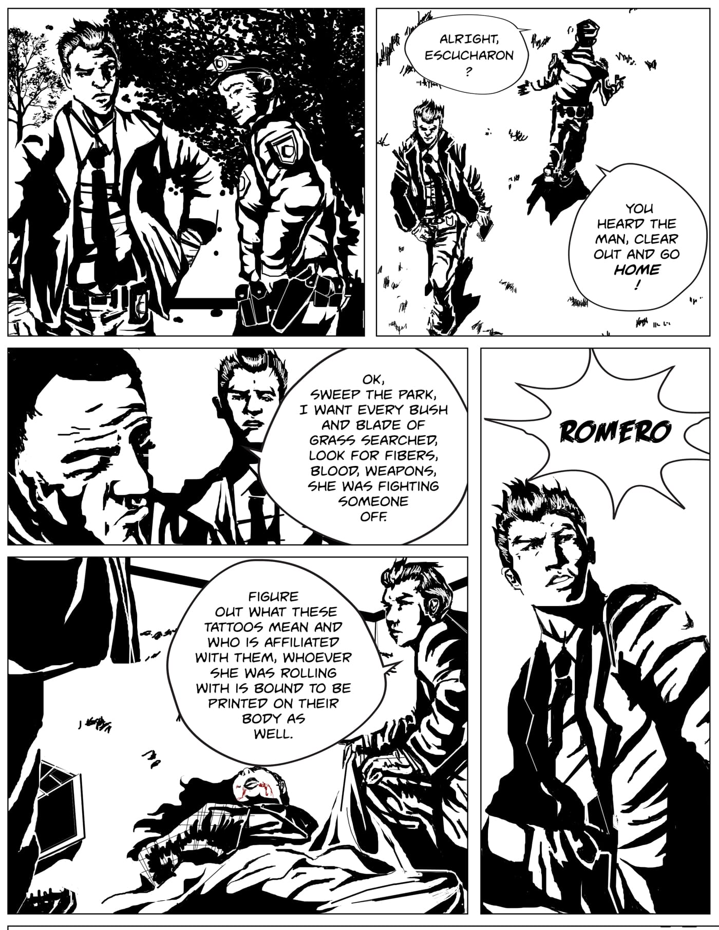 Children of Kronos comic page five of chapter one Demeter, Romero starts trying to figure out the identity of the dead woman as someone yells his name offscreen