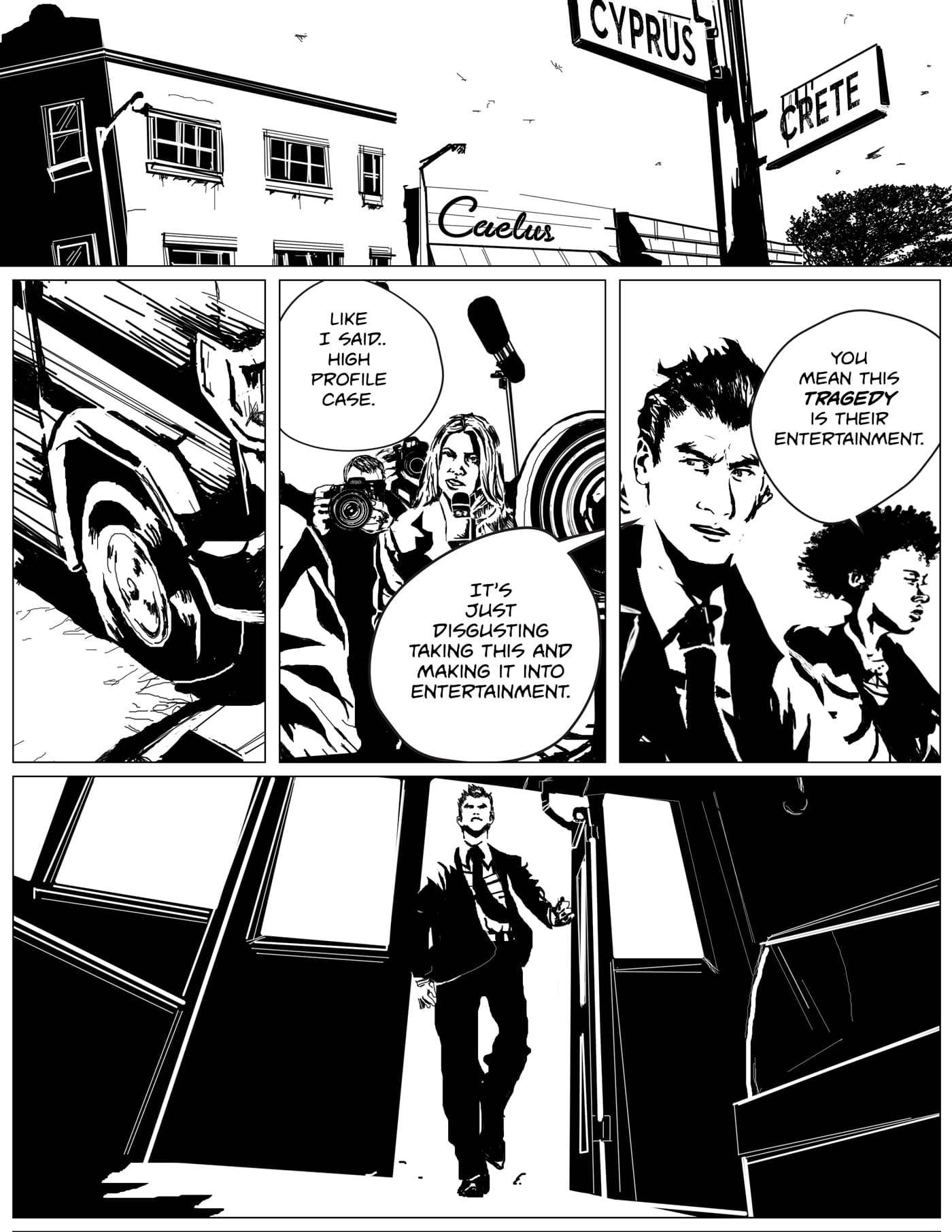 Children of Kronos comic page seven of Chapter One Demeter, detective Romero and Tompkins arrive on the crime scene of the Caleus butchery shop. Outside the butchers shop is filled with tons of media and news crew.